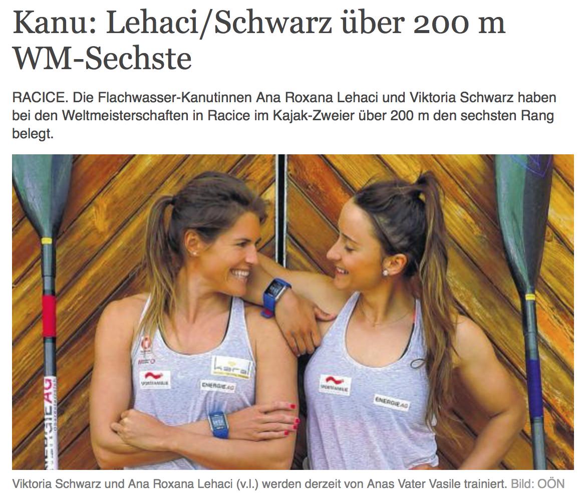 Kanu: Lehaci/Schwarz über 200 m WM-Sechste