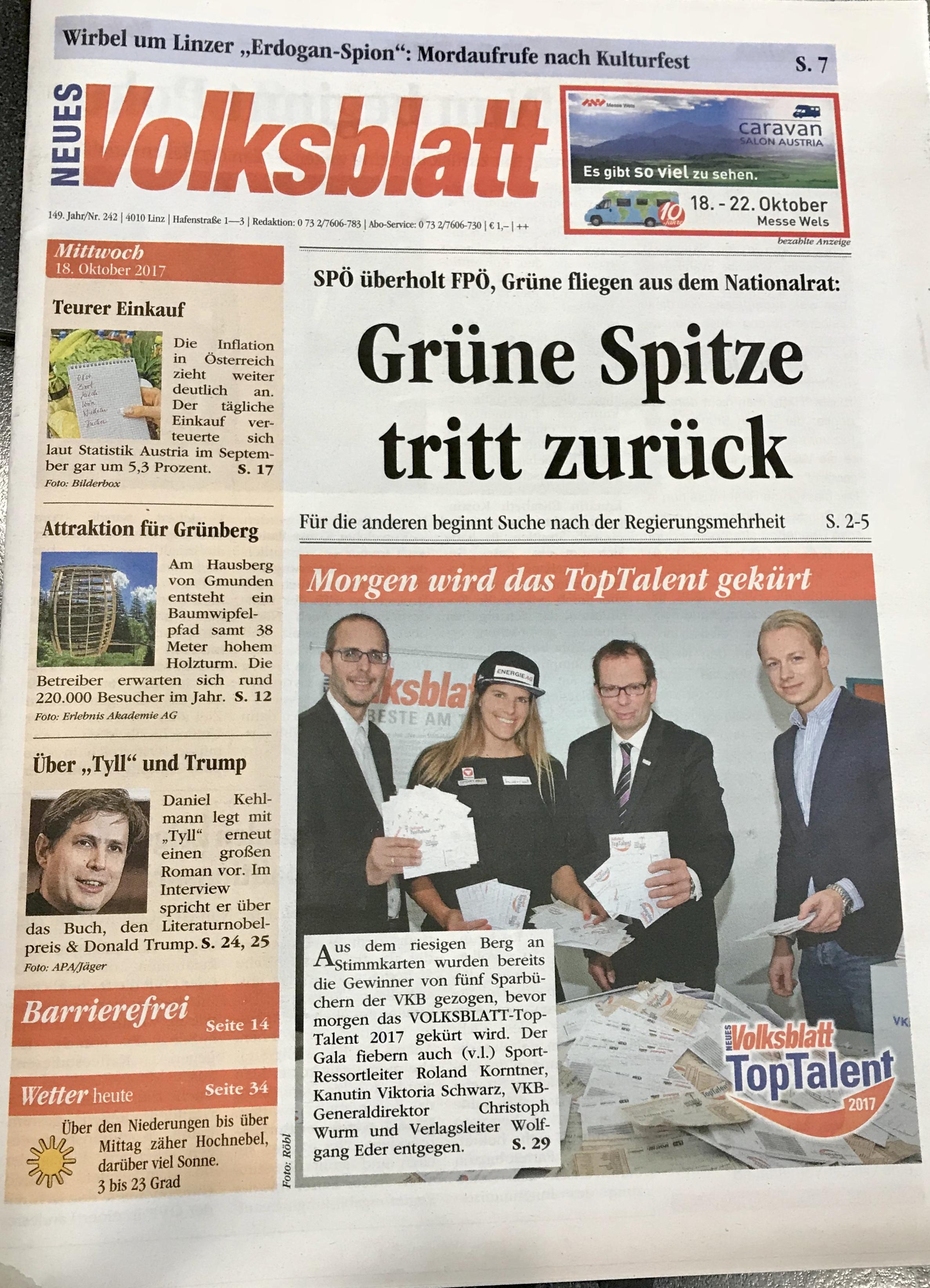 Volksblatt: Titelseite