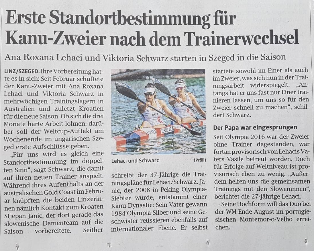 OÖN: Erste Standortbestimmung für Kanu-Zweier nach dem Trainerwechsel