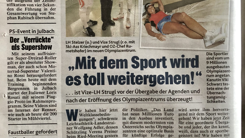 Krone: Mit dem Sport wird es toll weitergehen