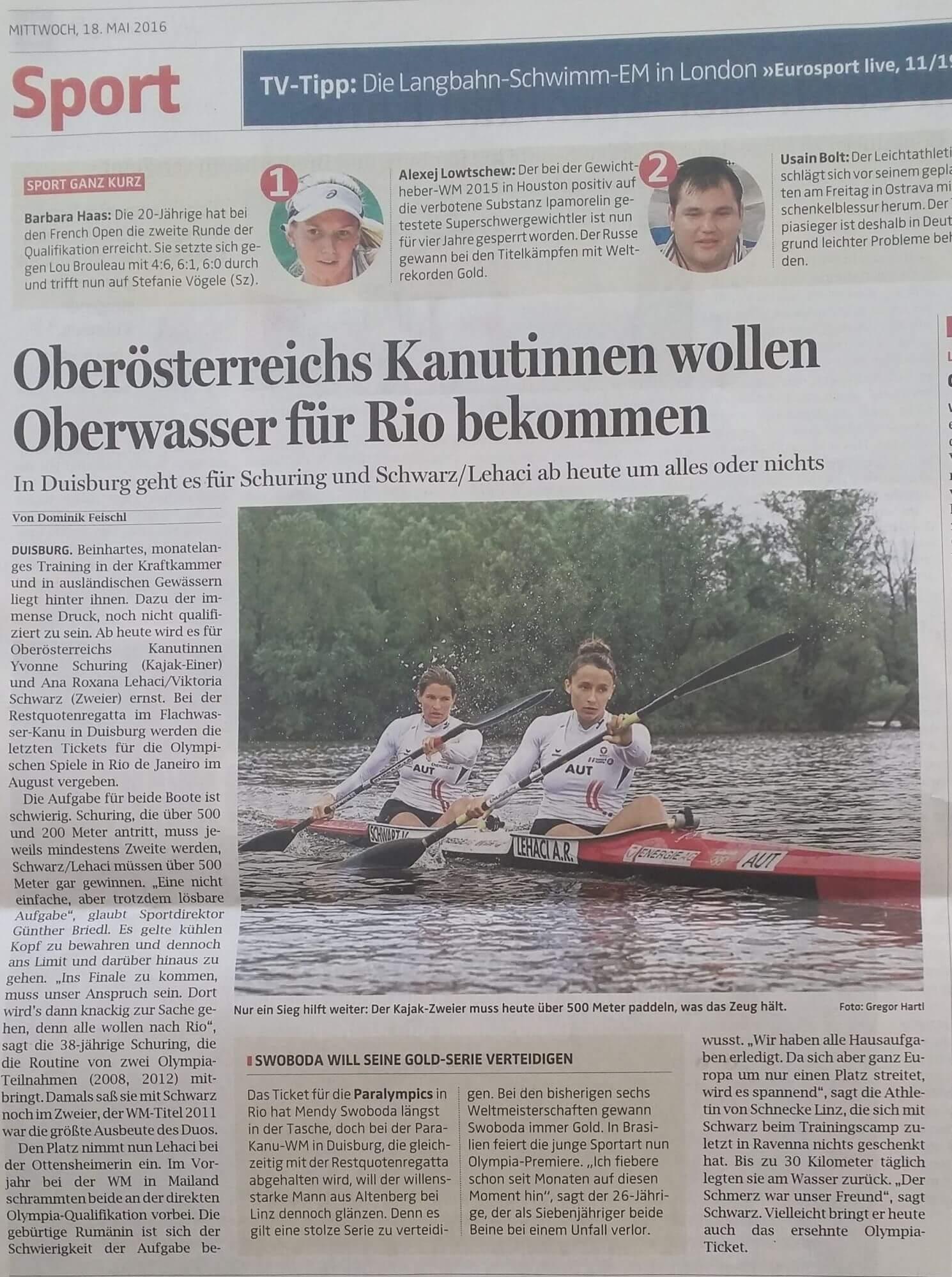 Oberösterreichs Kanutinnen wollen Oberwasser für Rio bekommen