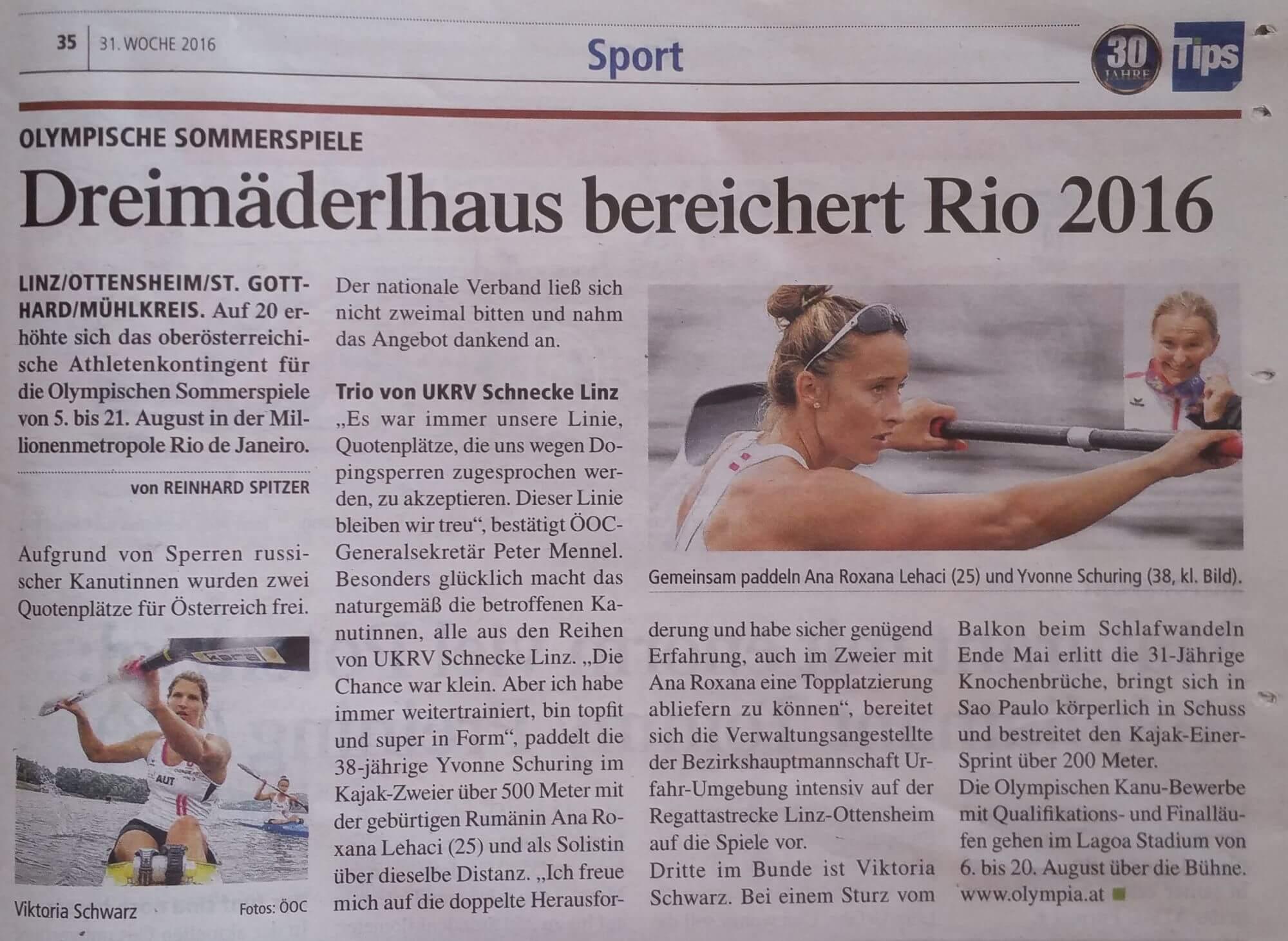 Dreimäderlhaus bereichert Rio 2016