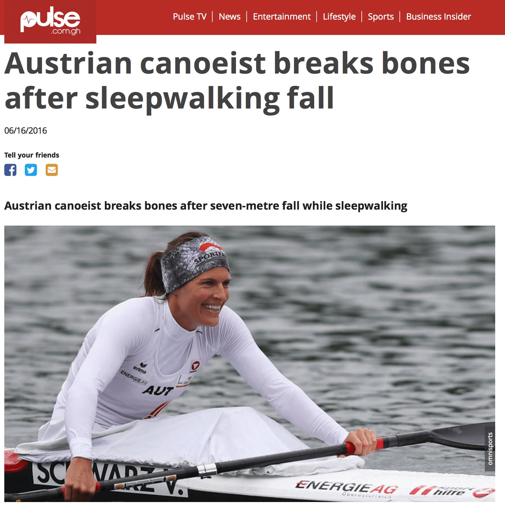 Austrian canoeist breaks bones after sleepwalking fall