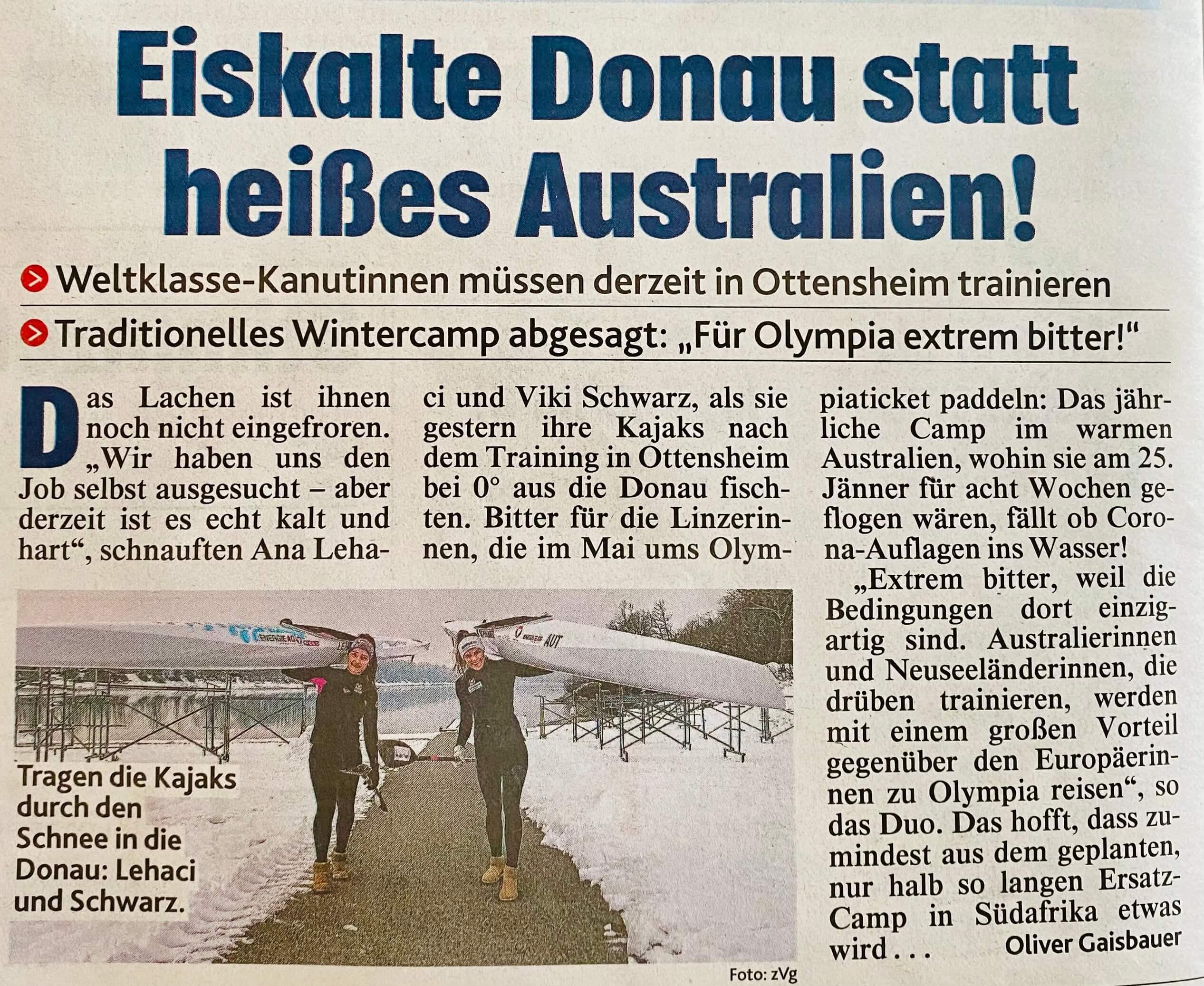 Eiskalte Donau, statt heißes Australien