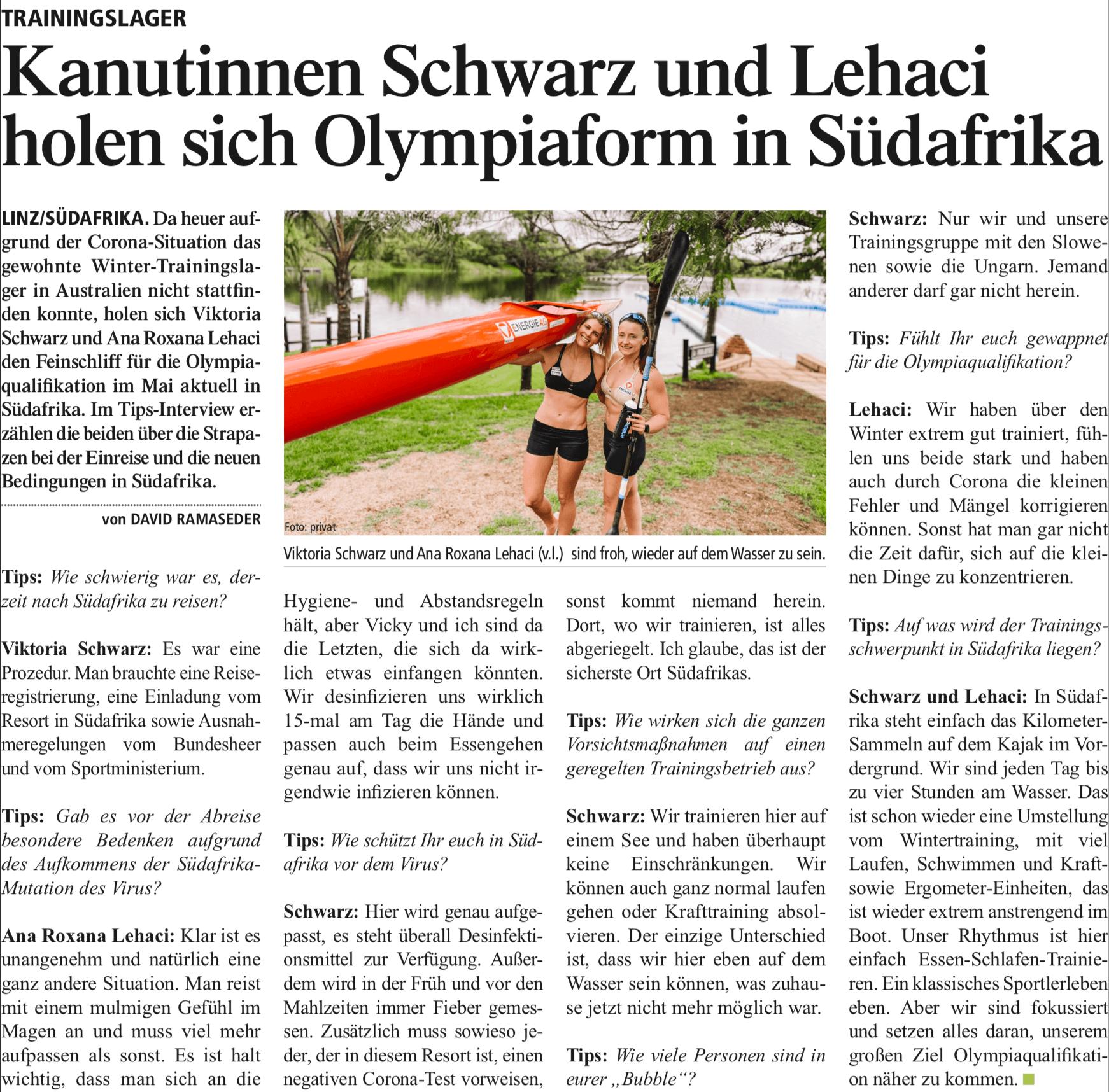 Kanutinnen Schwarz und Lehaci holen sich Olympiaform in Südafrika